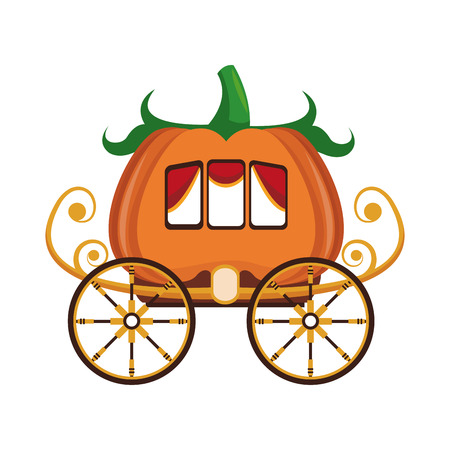 Pumpkin carriage cartoon icon vector illustration graphic design Ilustração