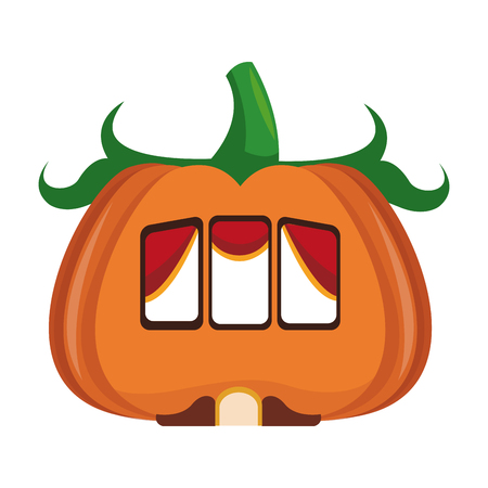 Pumpkin house isolated icon vector illustration graphic design