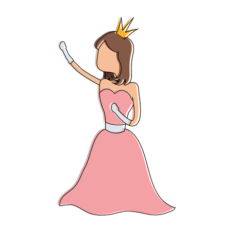 Princess cute cartoon icon vector illustration graphic design