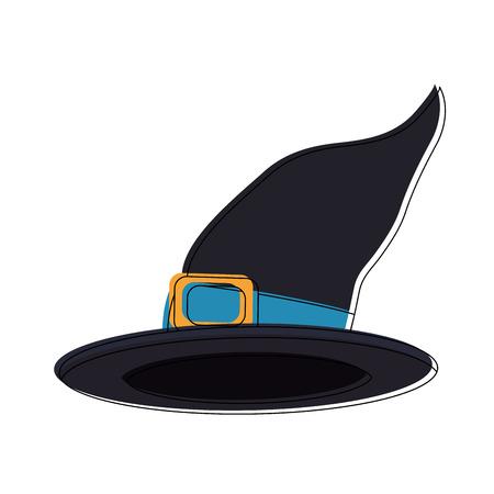 Witch hat cartoon icon vector illustration graphic design Illustration