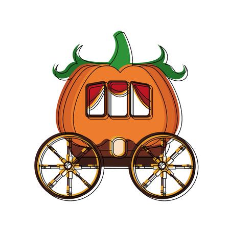 Pumpkin carriage cartoon icon vector illustration graphic design Ilustração