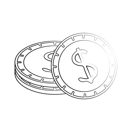 Pile gold coins icon vector vector icon illustration graphic design Illustration