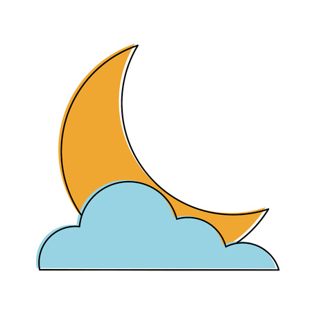 Moon with cloud icon vector illustration graphic design Illustration