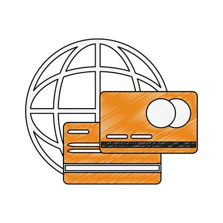 Global credit card icon vector illustration graphic design