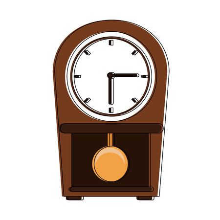 Wood wall clock with pendulum icon vector illustration graphic design Illustration