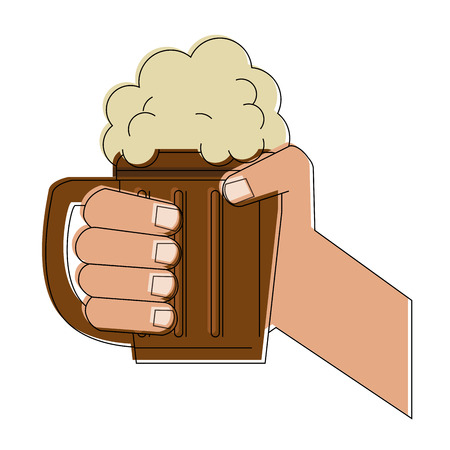 Hand with beer on wooden cup icon, vector illustration, graphic design