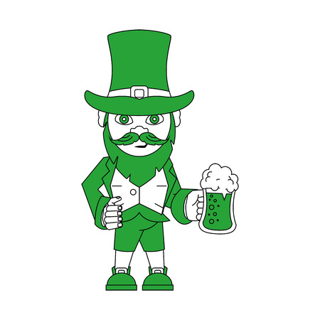 Elf with beer cup cartoon icon vector illustration graphic design Illustration
