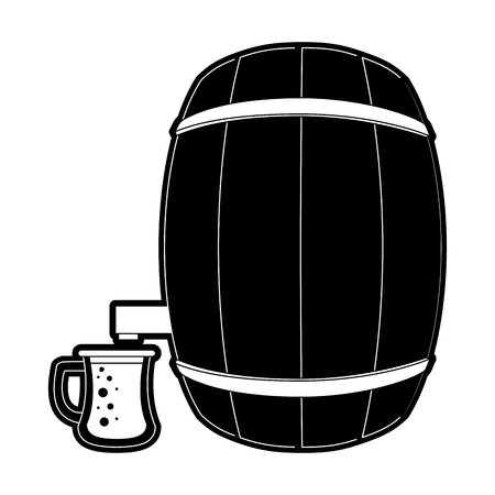 Beer wooden barrel icon illustration graphic design