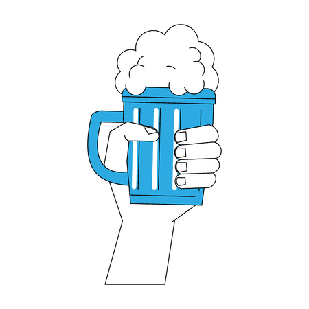 Hand with beer icon vector illustration graphic design Illustration