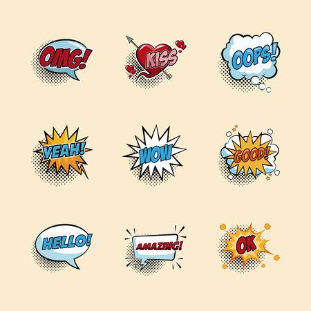 Pop art expressions colorful vector illustration graphic design speech bubble
