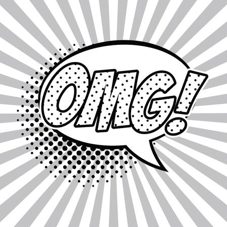OMG pop art black and white vector illustration graphic design speech bubble Ilustracja
