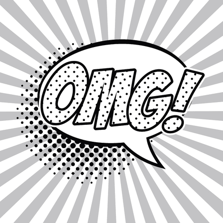 OMG pop art black and white vector illustration graphic design speech bubble Illustration