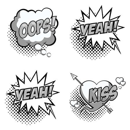 Pop art expressions black and white vector illustration graphic design speech bubble 일러스트