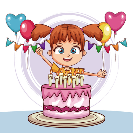 Gil with birthday cake and ballons vector illustration graphic design Ilustração