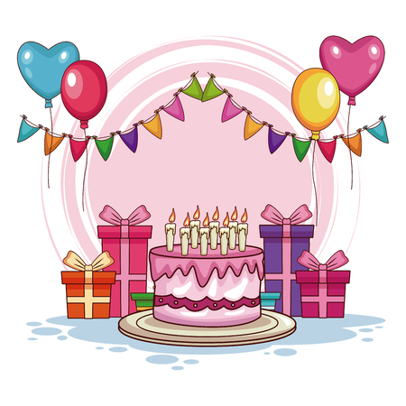 Birthday gifts and cake with balloons vector illustration graphic design