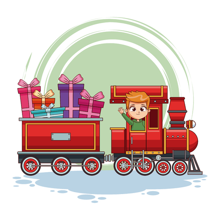 kids on train cartoon vector illustration graphic design
