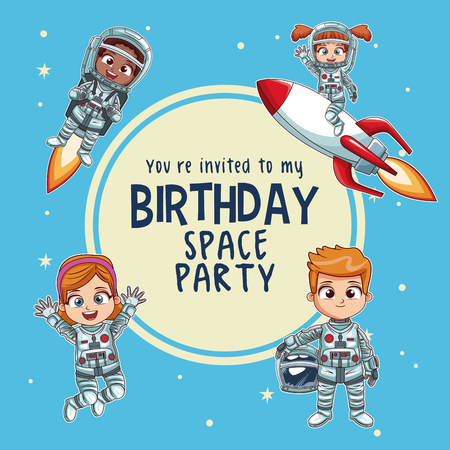 Happy birthday invitation card astronauts kids cartoons vector happy birthday invitation card astronauts kids cartoons vector illustration graphic design childhood space party stock filmwisefo