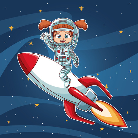 Girl on space with rocket cartoon vector illustration graphic design childhood space party