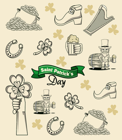 Saint patricks day elements cartoon icon vector illustration graphic design