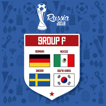 Russia football teams group blue background vector illustration graphic design.