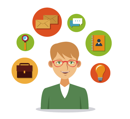 man with social media icons vector illustration graphic design