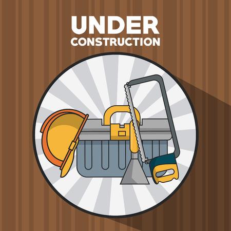 Under construction equipment wooden background vector illustration