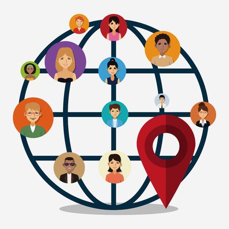 Global Social network and media vector illustration graphic design