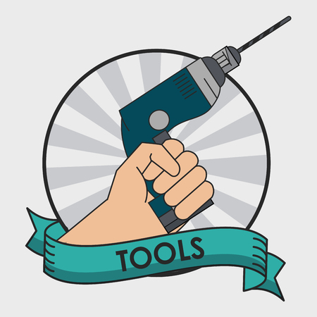 Hand with drill round icon with ribbon banner vector illustration icon vector illustration graphic design