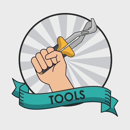 Hand with plier round icon with ribbon banner vector illustration Illustration
