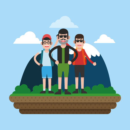 Mountaineering team cartoon vector illustration graphic design