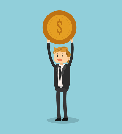 Businessman with coin vector illustration graphic design