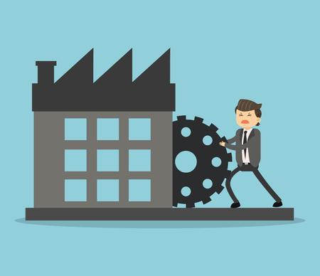 Businessman pushing gear to company vector illustration graphic design Vector Illustration
