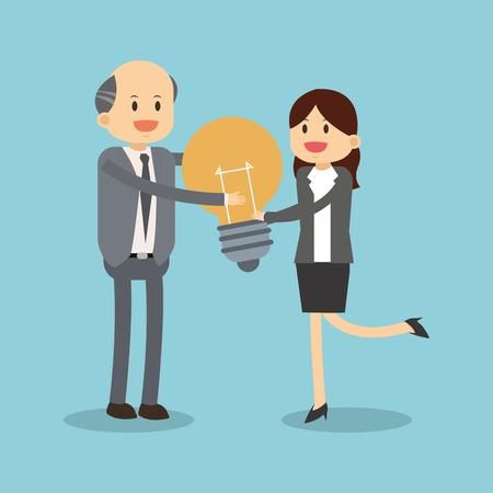 Business teamwork cartoon illustration