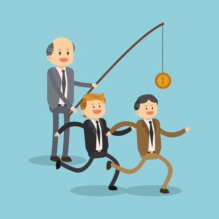 Boss exploiting worker for salary illustration Stock Illustratie