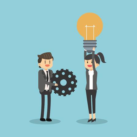 Business teamwork with ideas illustration