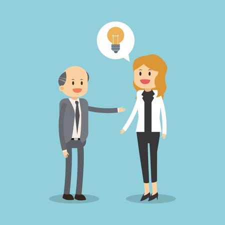 Business teamwork with idea illustration Illustration