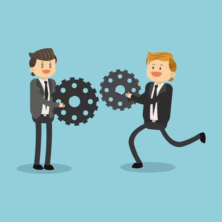 Businessmen with gears illustration graphic design Illustration