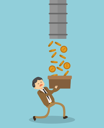 Businessman holding a box with coins illustration