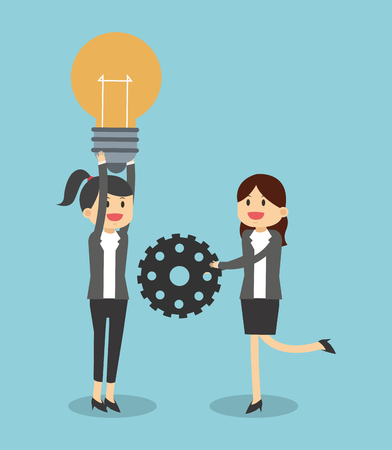 Womens with bulb and gear illustration