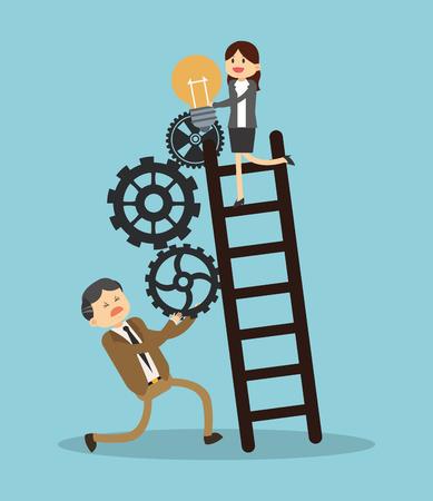 Business teamwork climbing stairs illustration