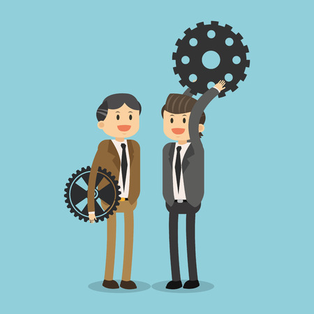 Business teamwork with gears illustration