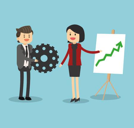 Business teamwork showing statistics growing illustration Vector Illustration