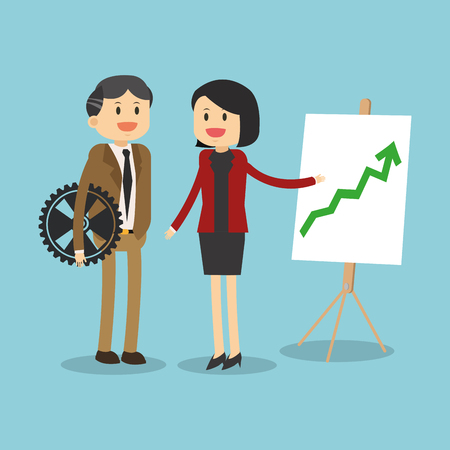 Business teamwork showing statistics growing illustration