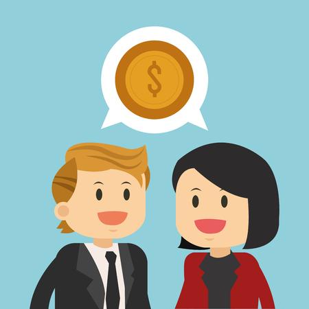 Business teamwork talking about money illustration
