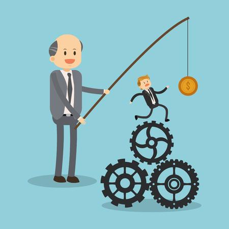Exploiting worker for minimum salary illustration Vector Illustration