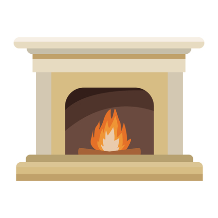 Chimney with bonfire icon illustration