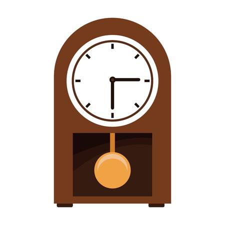 Wood wall clock with pendulum icon illustration Illustration