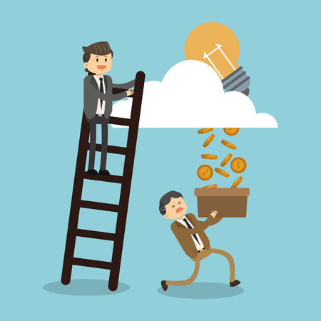 Man climbs stairs for successful illustration Illustration