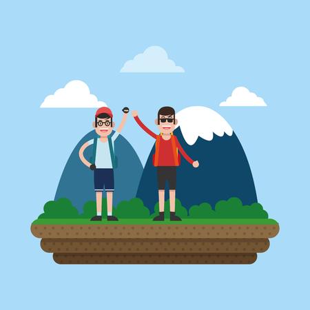 Mountaineering with friends cartoon illustration