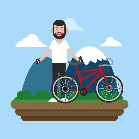 Man on bike in the park illustration